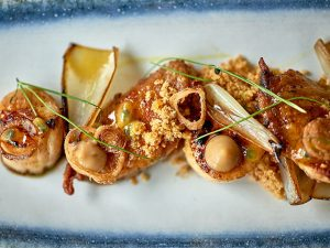 Seared King scallops on the menu at The Beach at Bude. David Griffen