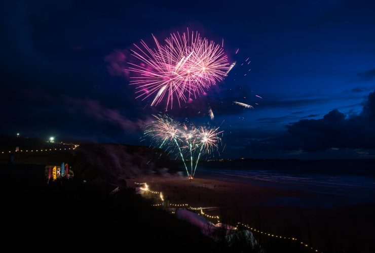 Fireworks celebrating ten years of Polo on the Beach. Lewis Harrison Pinder