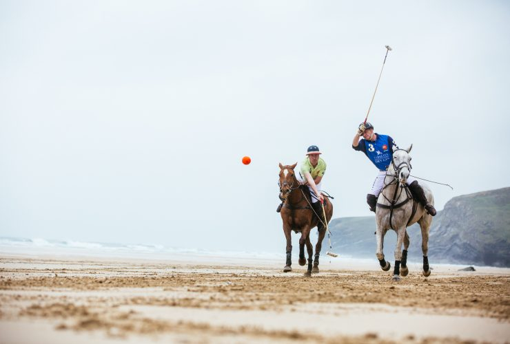 Warming up for Aspall Polo on the Beach, Watergate Bay, Cornwall. Lewis Harrison-Pinder