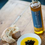 Mrs Middleton's Cold-Pressed Rapeseed Oil with balsamic vinegar and bread.