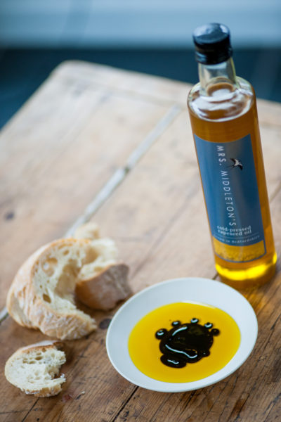 Mrs Middleton's Cold-Pressed Rapeseed Oil with balsamic vinegar and bread. David Griffen
