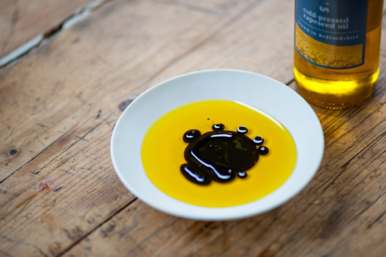 Mrs Middleton's Cold-Pressed Rapeseed Oil with balsamic vinegar. David Griffen