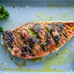 Red mullet cooked with pesto and Mrs Middleton's Cold-Pressed Rapeseed Oil.