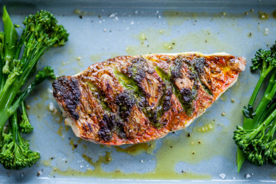 Red mullet cooked with pesto and Mrs Middleton's Cold-Pressed Rapeseed Oil. David Griffen