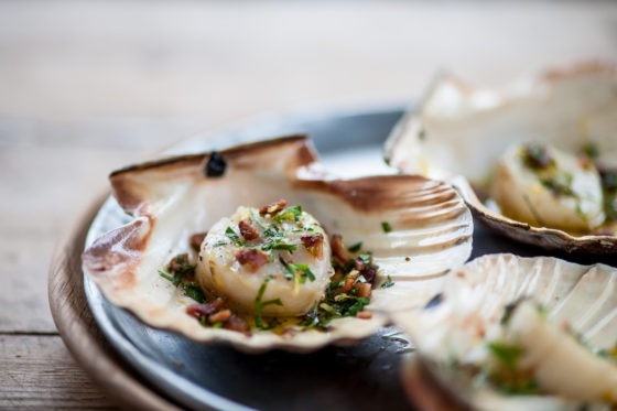 Scallops with pancetta, garlic and Mrs Middleton's Cold-Pressed Rapeseed Oil. David Griffen