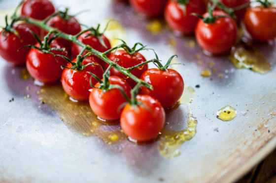 Tomatoes drizzled with Mrs Middleton's Cold-Pressed Rapeseed Oil. David Griffen