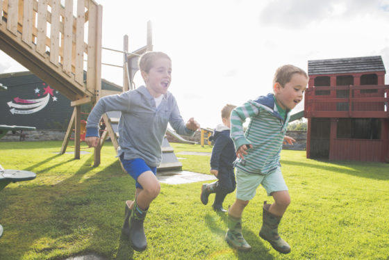 The Olde House has a large outdoor play area for young guests. James Ram
