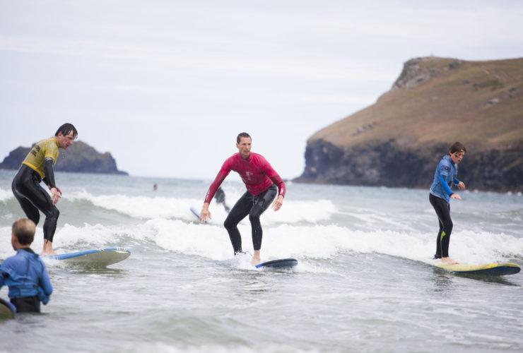 The Olde House activity break surf lesson, with Wavehunters at Polzeath. Wavehunters