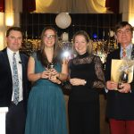 Mr and Mrs Armstrong with Darryl Reburn at the annual staff awards