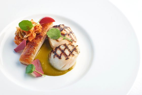 Scallop dish at The Headland Hotel David Griffen