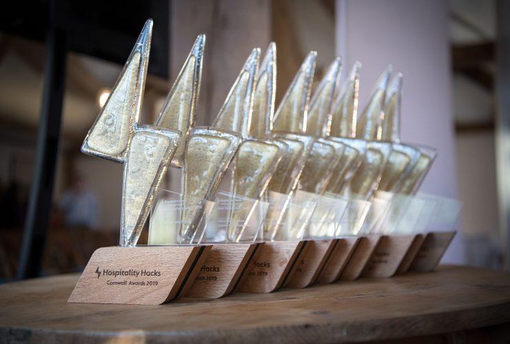 Trophies for the Hospitality Hacks award winners. James Ram