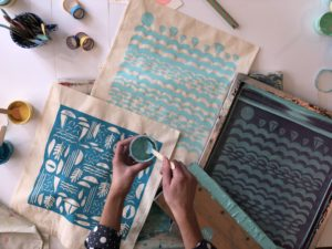Screen printing workshops with Dena O'Brien from Kiwi Print Studio Una St Ives