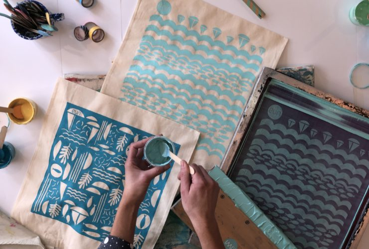 Screen printing workshops with Dena O'Brien from Kiwi Print Studio Una St Ives