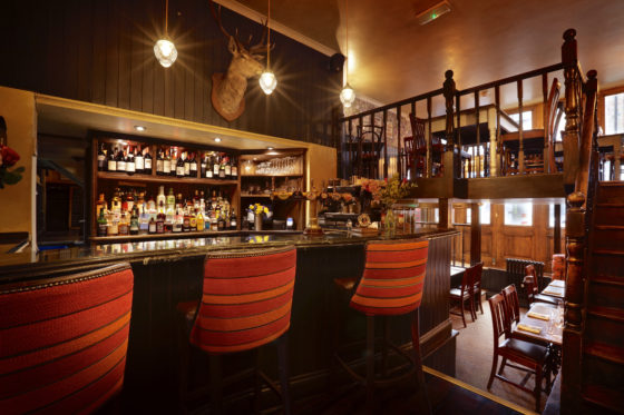 The Abbeville's new bar, leading to the upstairs dining area.