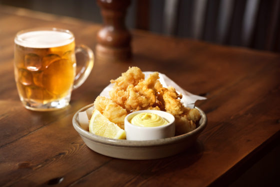 Calamari with aioli dressing at The Abbeville in Clapham. Johnny Stephens