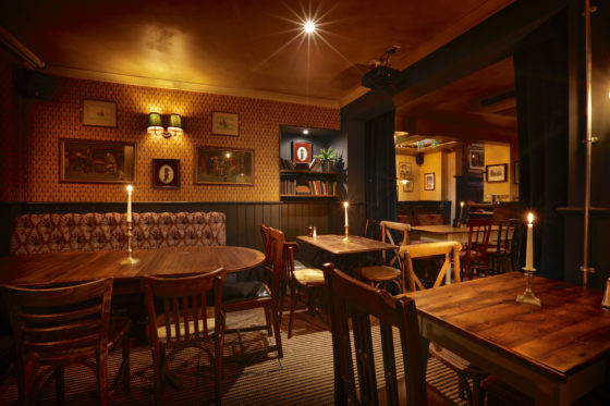 Cosy seating areas at The Abbeville in Clapham.