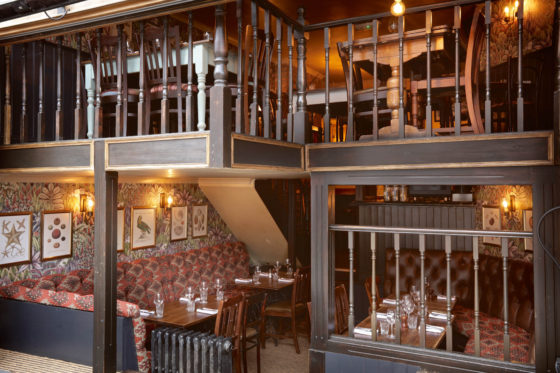 Cosy dining areas at The Abbeville in Clapham.