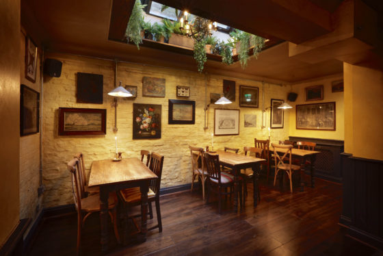 Downstairs dining area at The Abbeville in Clapham.
