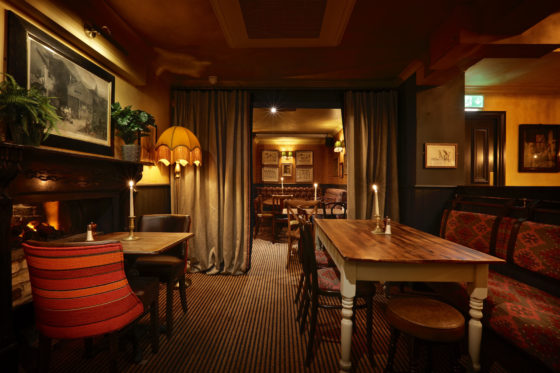 Downstairs seating at The Abbeville in Clapham.