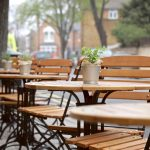 Outdoor seating patio at The Abbeville in Clapham.