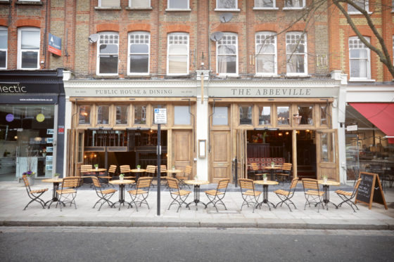 Outdoor seating at The Abbeville in Clapham.