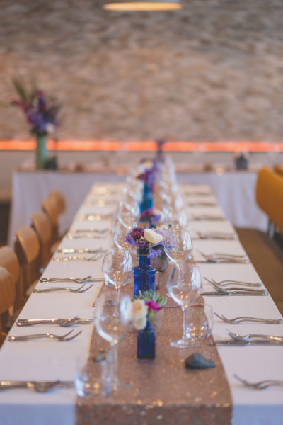 Beautifully decorated tables for the wedding breakfast at Una Kitchen Lee Searle