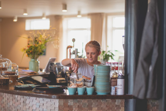 One of Una Kitchen's baristas at the coffee bar Lee Searle