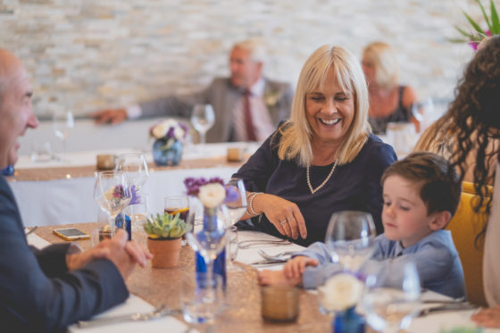 Guests of all ages enjoying the wedding breakfast at Una Kitchen Lee Searle