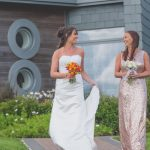 The bride and her bridesmaid leaving their eco-lodge