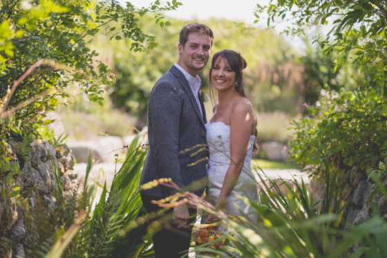 The bride and groom exploring the grounds of Una before the wedding breakfast Lee Searle