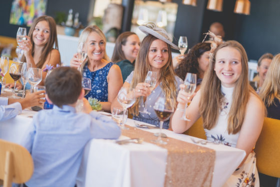 Guests enjoying the wedding speeches at Una Kitchen Lee Searle