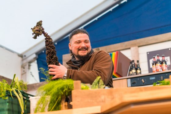 Ollie Huttson from The Pig, on stage at Padstow Christmas Festival 2019 Lewis Harrison-Pinder - @pindygram