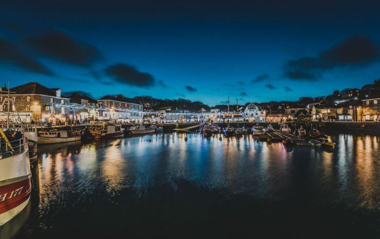 Padstow harbour at night lit by the festival lights in 2019 Adam Sargent