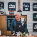 Rick Stein on stage demonstarating at Padstow Christmas Festival 2019
