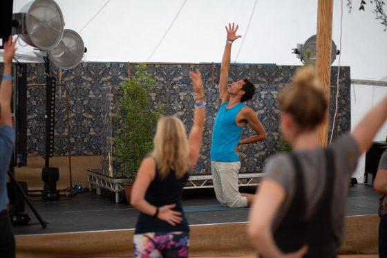 Yoga session at Porthilly Spirit Festival.